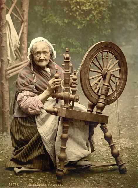 Spinning Wheel, Woman, Old, Fibers, Spinning, Thread
