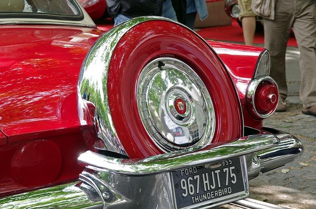 Ford, Thunderbird, Oldtimer, Spare Wheel, Old
