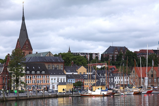 Flensburg, West Bank, Port, Church, Old Town, Boats