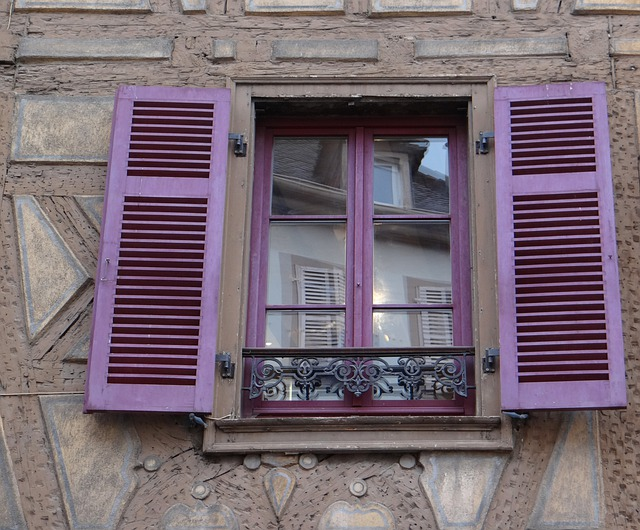 Window, Shutters, Purple, Mirroring, Old Town