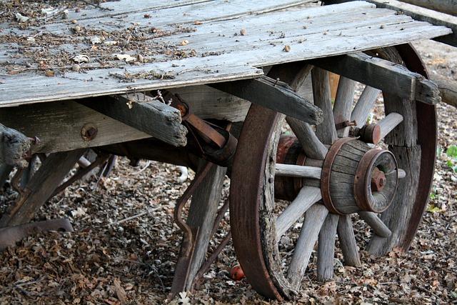Rustic, Wagon, Autumn, Wagon Wheel, Wheel, Old, Wooden