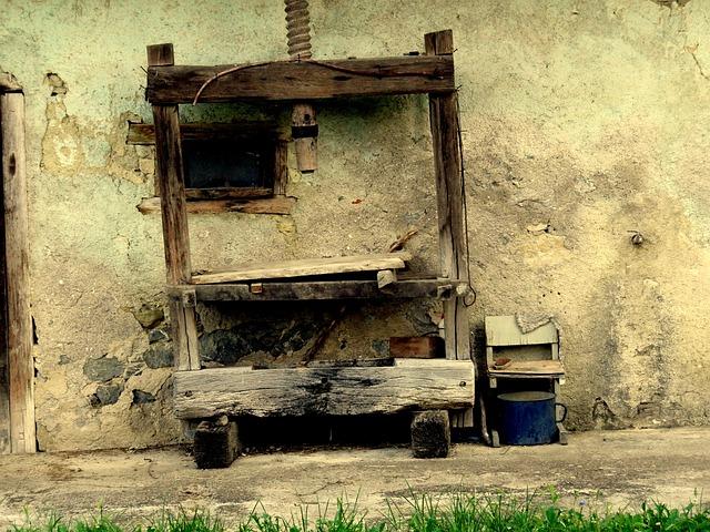 Wine Press, Metal Bucket, Old Wood