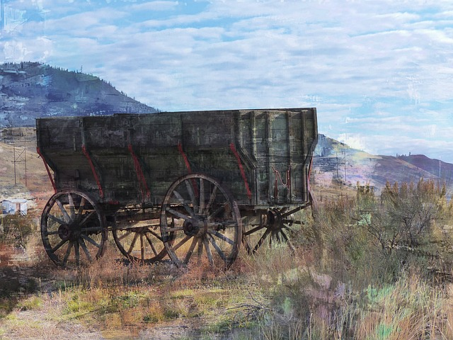 Old, Wooden, Wagon, Wild West, Digital Art, Artwork