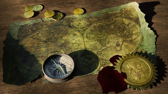 Adventure, Still Life, Old World Map, Compass, Coins