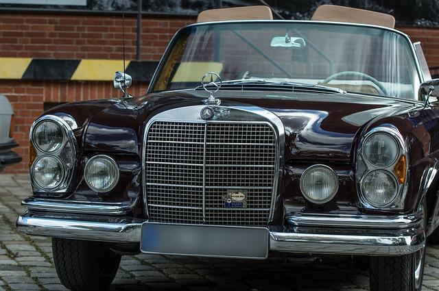 Auto, Mercedes, Oldtimer, Cabriolet, Chrome, Spotlight