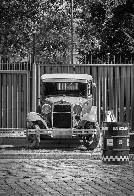 Ford, Oldtimer, Black And White, Monochrome, Automotive