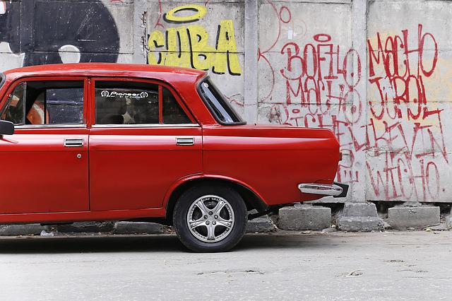 Cuba, Havana, Oldtimer, Car, Auto, Red, Street, Urban