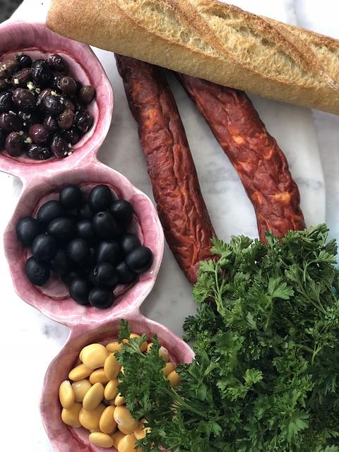 Portuguese Food, Olives, Chorizo