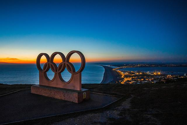 Portland, Panorama, Night, Symbol, City, Olympic Rings