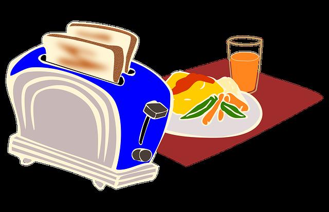 Breakfast, Toaster, Bread, Omelette, Kitchen