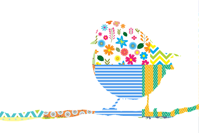 Bird, Robin, On Branch, Patchwork, Pattern