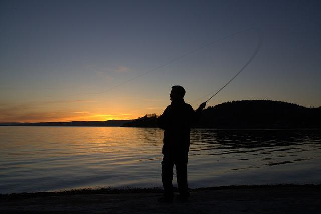 Sunset, Fishing, One, Silhouette, Norway
