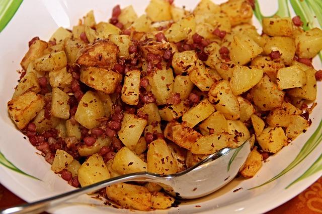 Fried Potatoes, Bacon, Onions, Potatoes, Pieces, Cube