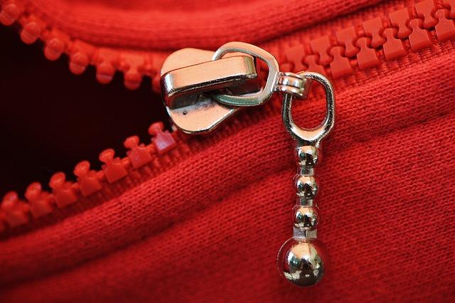 Zip, Red, Coarse, Jacket, Open