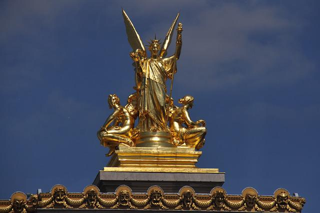 Paris, Opera Garnier, Gold, Roof, Academy Of Music