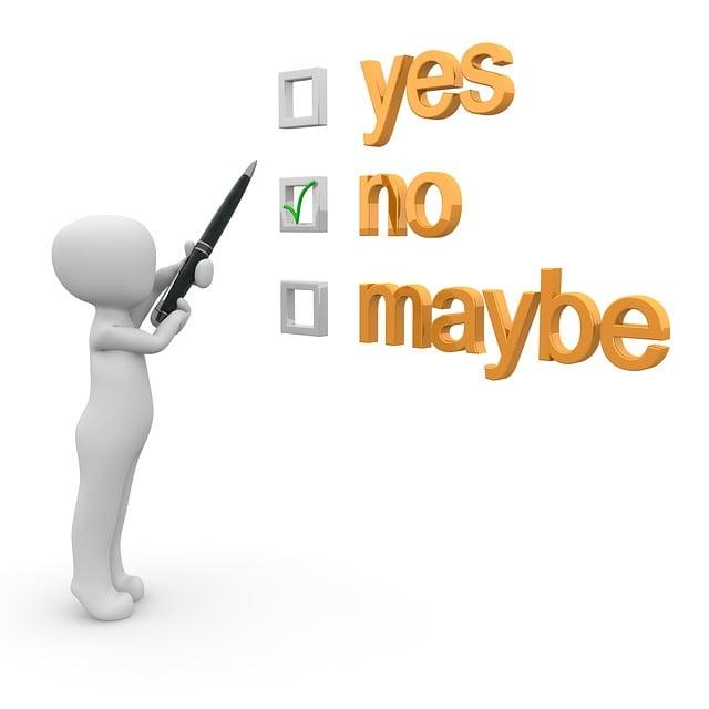 Yes, No, Maybe, Checklist, Opportunity, Alternative