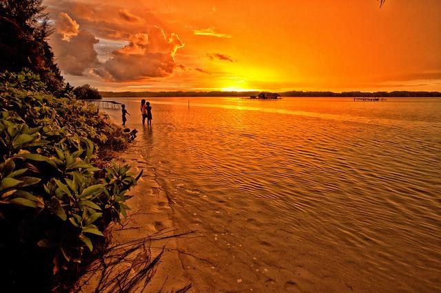 Sunset, Lagoon, Tropical, Children, Orange Color, Atoll