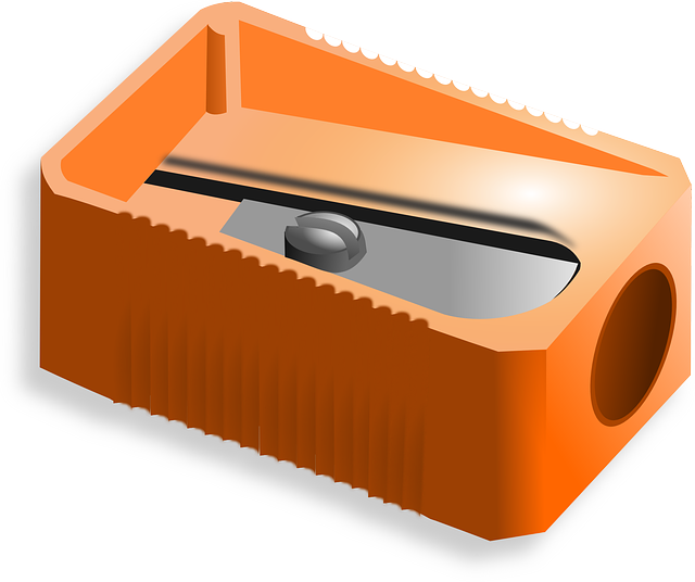 Pencil Sharpener, Sharpener, Office, School, Orange