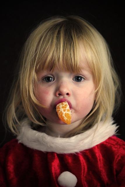 Girl, Portrait, Christmas, Orange, Children