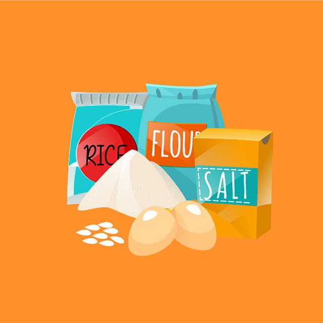 Salt, Egg, Rice, Orange Rice, Orange Egg, Orange Eggs