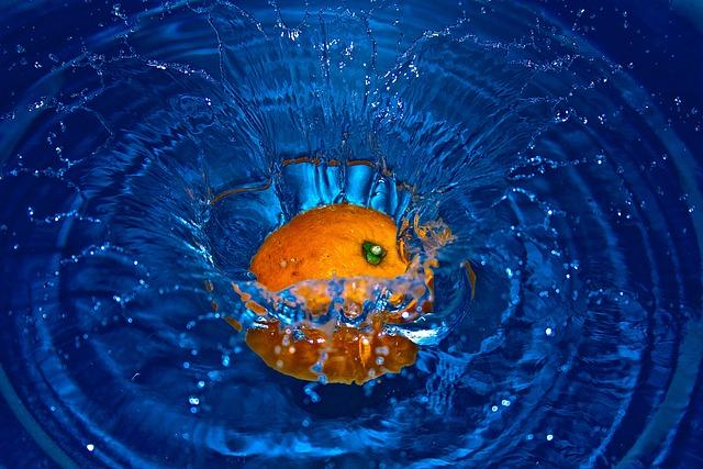 Orange, Falling, Water, Fruits, Splashing, Splashes