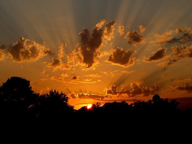 Sunset, Sun, Nature, Sky, Orange, Rays