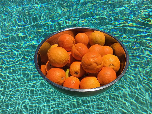 Orange, Metal Bowl, Swimming Pool