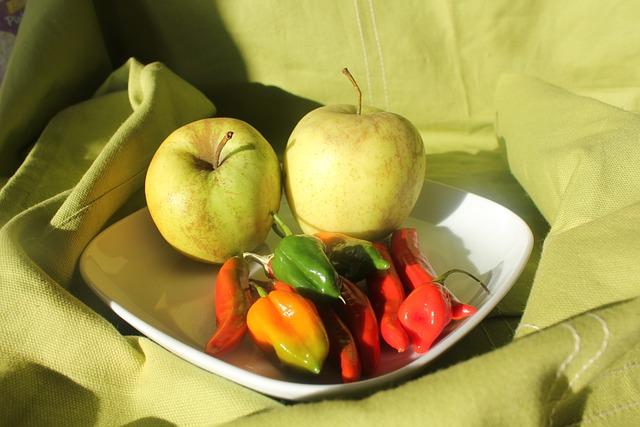 Peppers, Chilli, Red, Green, Orange, Vegetables, Apple