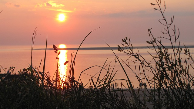 Sunset, Sun, Sea, Water, Borkum, North Sea, Orange