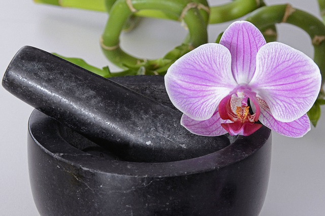 Mortar, Tappet, Orchid, Orchid Flower, Violet, Bamboo