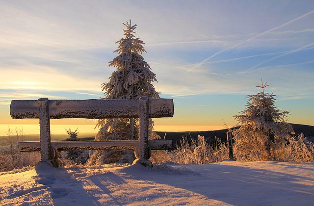 Fichtelberg, Ore Mountains, Bank, Sunrise