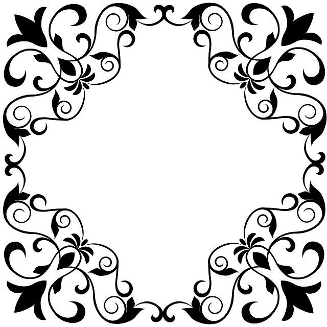 Floral, Fleur, Royal, Scroll, Black-white, Ornamental