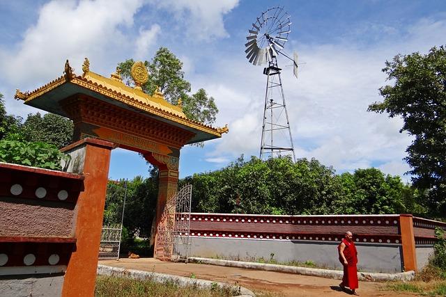 Wind Mill, Wind Power, Tibetan Settlement, Gate, Ornate