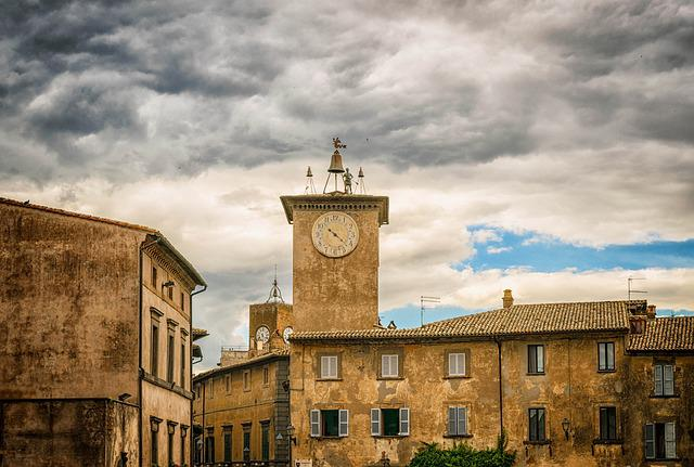 City, Middle Ages, Italy, Orvieto, Tower, Clock