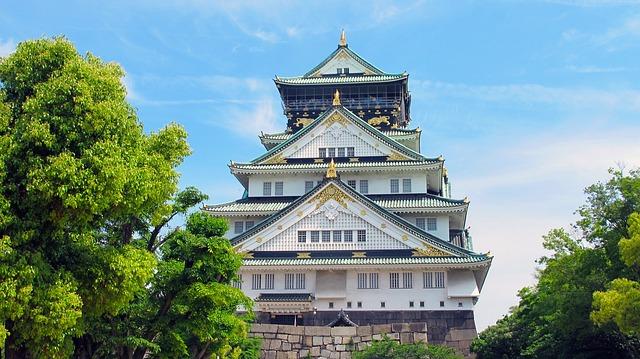 Osaka Castle, Japan, Five, Osaka, Landmark, Asian Style