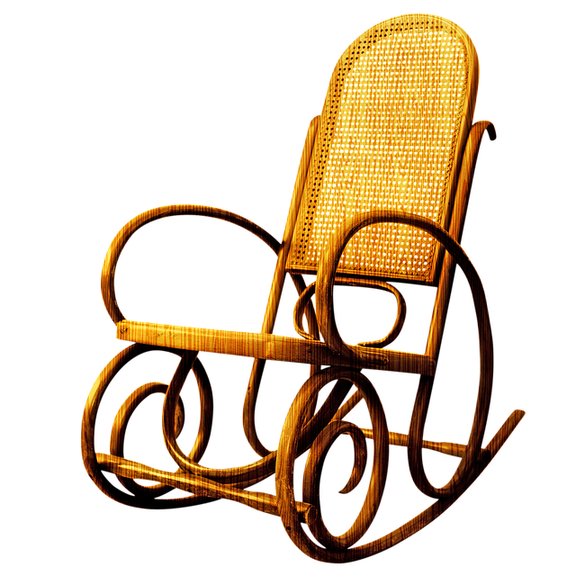 Wooden Rocking Chair, Ottoman, Chair, Table, Coffee