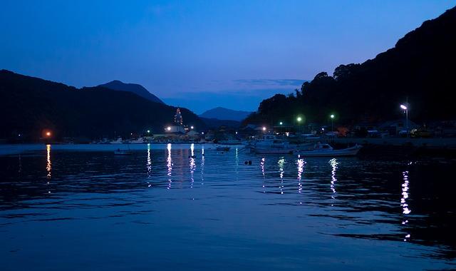 Amakusa, Japan, Oura Catholic Church, Night, Port, Sea