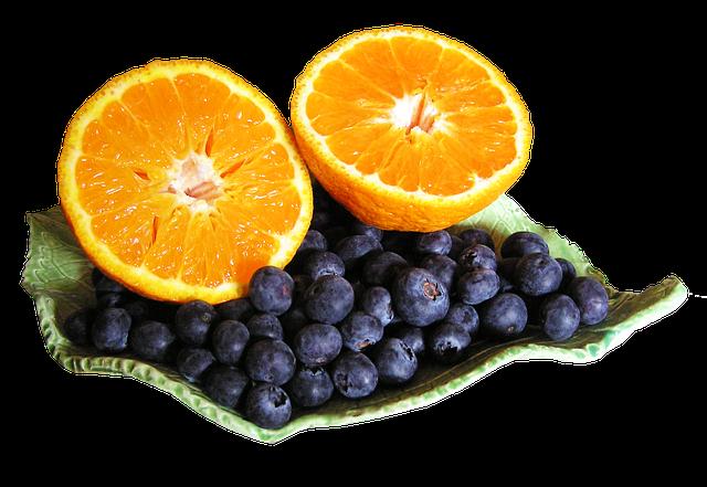 Mandarin, Blueberries, Cut, Out