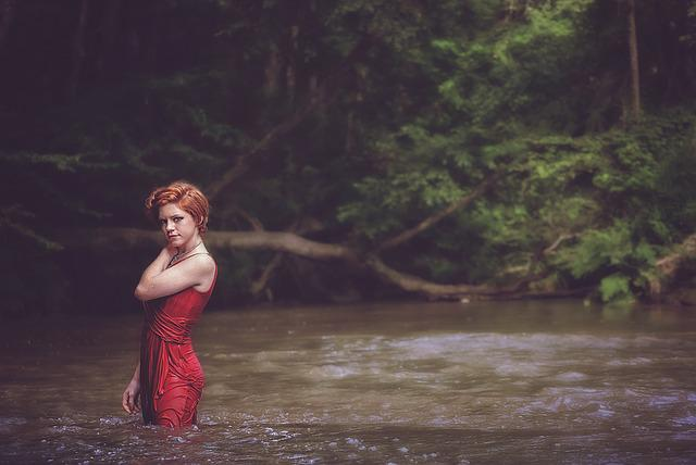 Girl, Water, Wet, Summer, Female, Outdoor, Pose, River