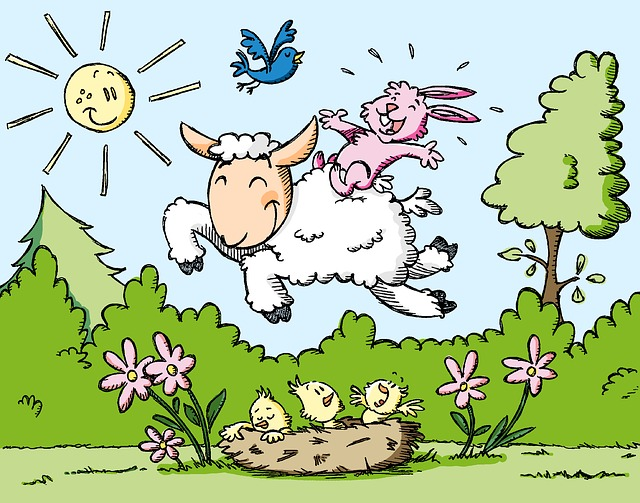 Spring, Lamb, Happy, Outdoor, Meadow, Bunny, Birds