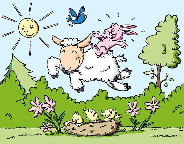 Spring, Lamb, Happy, Outdoor, Meadow, Bunny, Birds