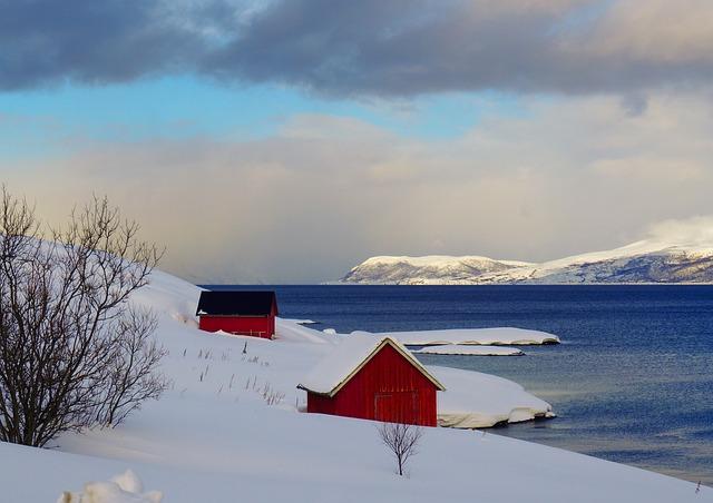 Sky, Winter, Outdoor, Snow, No Person, Fjord, Norway