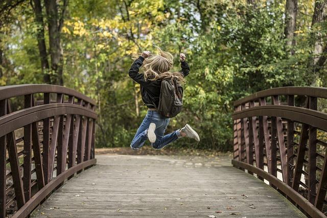 Blond, Bridge, Fun, Girl, Happy, Joy, Jumping, Outdoors