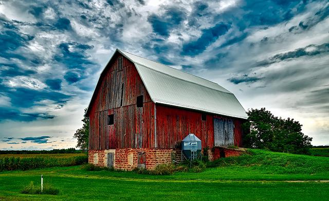 Barn, Sky, Clouds, Sunset, Landscape, Nature, Outdoors