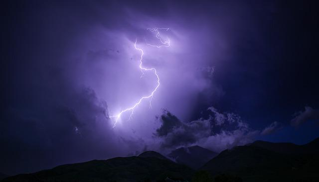 Dark, Lightning, Mountain, Nature, Outdoors, Silhouette