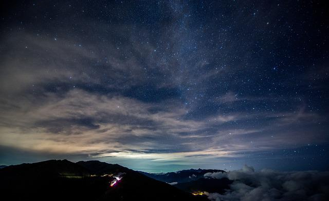 Dark, Mountain, Night, Outdoors, Silhouette, Sky, Stars