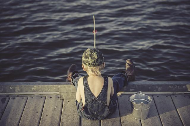 Boy, Fishing, Water, Summer, Overalls, Bucket, Outdoors