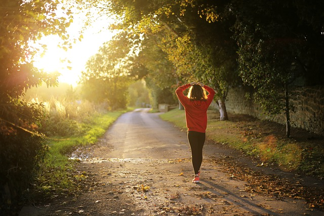 Walking, Fitness, Girl, Dawn, Fall, Outdoors, Pathway