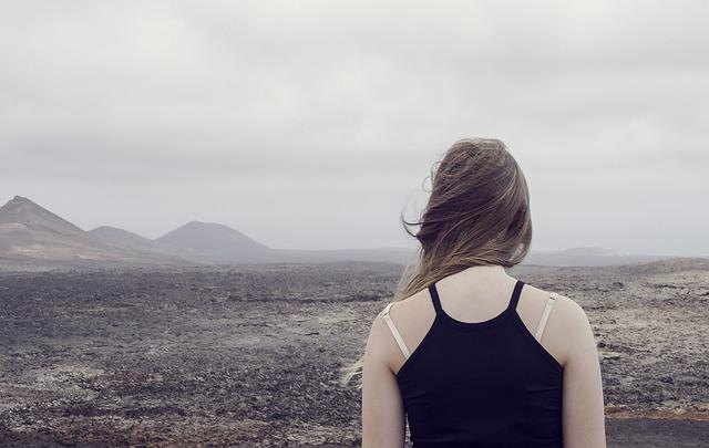 Desert, Foggy, Girl, Landscape, Mountain, Outdoors