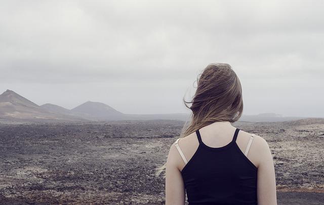Desert, Foggy, Girl, Landscape, Mountain, Outdoors